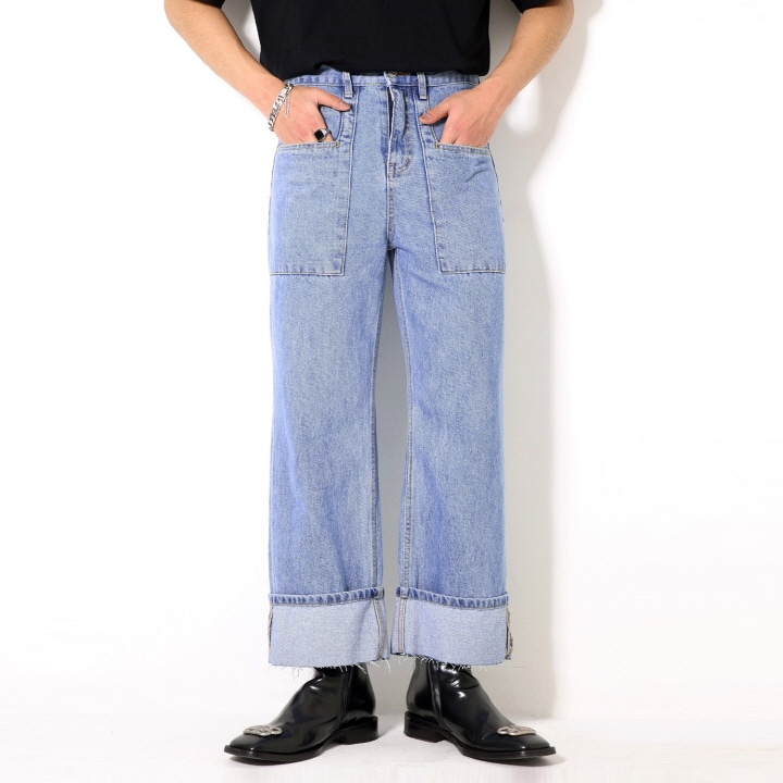 XP53 FATIGUE ROLL-UP DENIM PANTS (LIGHT BLUE)